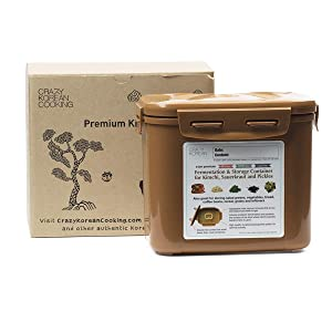 Crazy Korean Cooking Premium Kimchi, Sauerkraut Fermentation and Storage Container with Inner Vacuum Lid, Sandy Brown, 0.9 gallon (3.4 L)