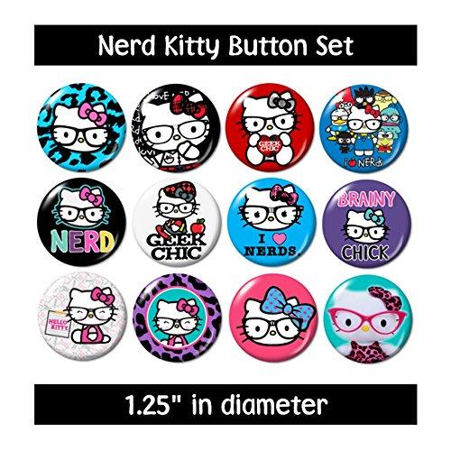 Nerd Geek Kitty Buttons Pins ()