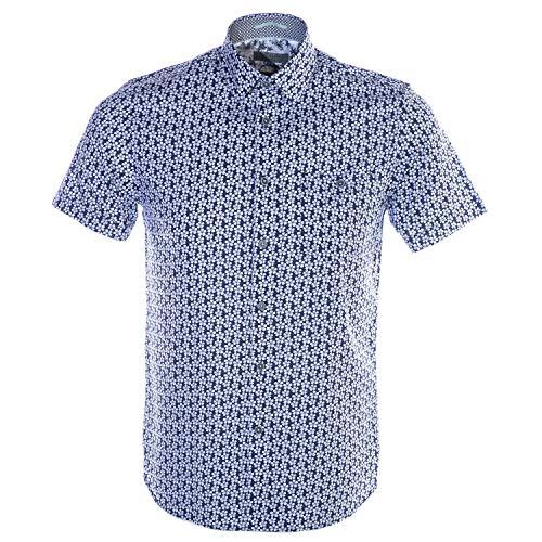 Ted Baker Men's Petalz Short Sleeve Printed Floral Shirt Blue 5