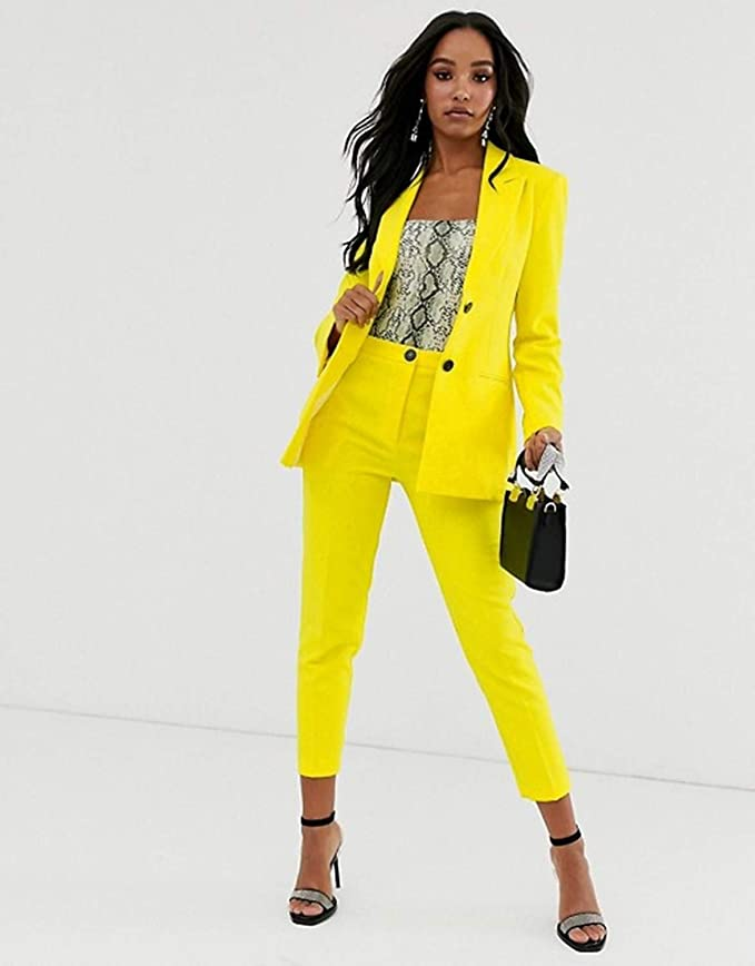 Women Ladies Slim-Fit Elegant Blazer Jacket Coat Pinstripe Trousers Two Piece Work Office Suit Stone, UK M//10