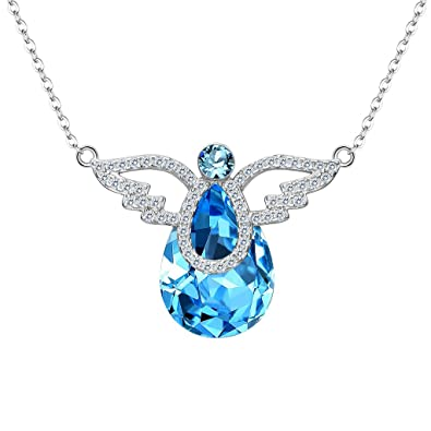77c8092eb EleQueen 925 Sterling Silver CZ Teardrop Angel Wing Pendant Necklace  Aquamarine Color Made with Swarovski Crystals