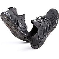 Zapatos de Seguridad Hombre Mujer Trabajo Ligeras Calzado de Seguridad Deportivo Comodo con Punta de Acero Negro Gris…
