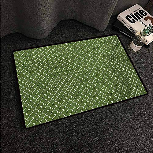HCCJLCKS Non-Slip Door mat Green Vivid Forest Natural Colored Geometric Wave Like Round Edged Shaped Image Easy to Clean Carpet W35 xL47 Olive Green and White