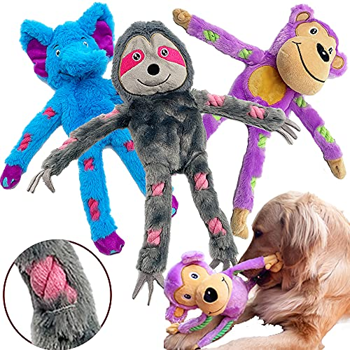 Jalousie Extra-Large 16 in Dog Squeaky Toy Interactive Rope Plush Toy for Small Medium Large Breeds Durable Dog Chew Toy