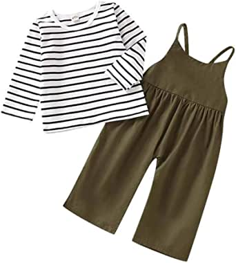 Toddler Baby Girl Pants Sets Stripe Long Sleeve T-Shirt Top + Strap Overalls Loose Jumpsuit Fall Outfits Clothes 6M-4T