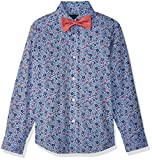 Tommy Hilfiger Boys' Big Long Sleeve Dress Shirt with Bow Tie, Floral Cherry Popsicle 14