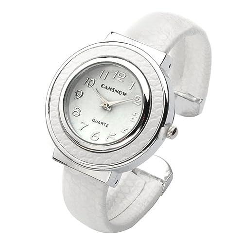JSDDE Uhren,Chic Manschette Damenuhr Rund Spangenuhr Schlage Haut Band Armbanduhr Quarzuhr(Weiss)