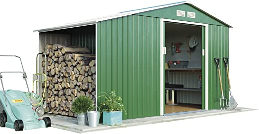 Standard with Foundation Kit, Dark Green by Waltons Metal Large Garden Shed Log Store 11.2 x 6.3 with Apex Roof /& Double Sliding Doors