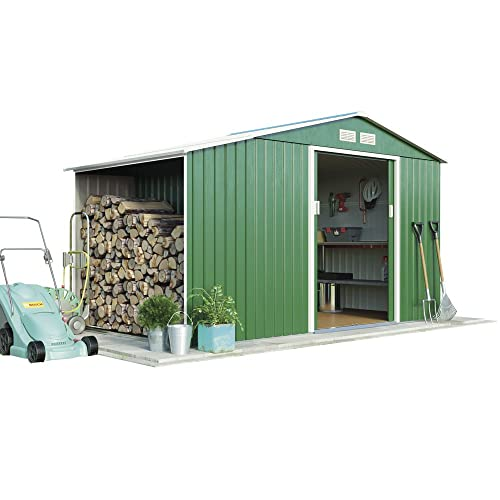 Metal Large Garden Shed Log Store 9.1 x 4.2 with Apex Roof & Double Sliding Doors, by Waltons (Standard with Foundation Kit, Dark Green)