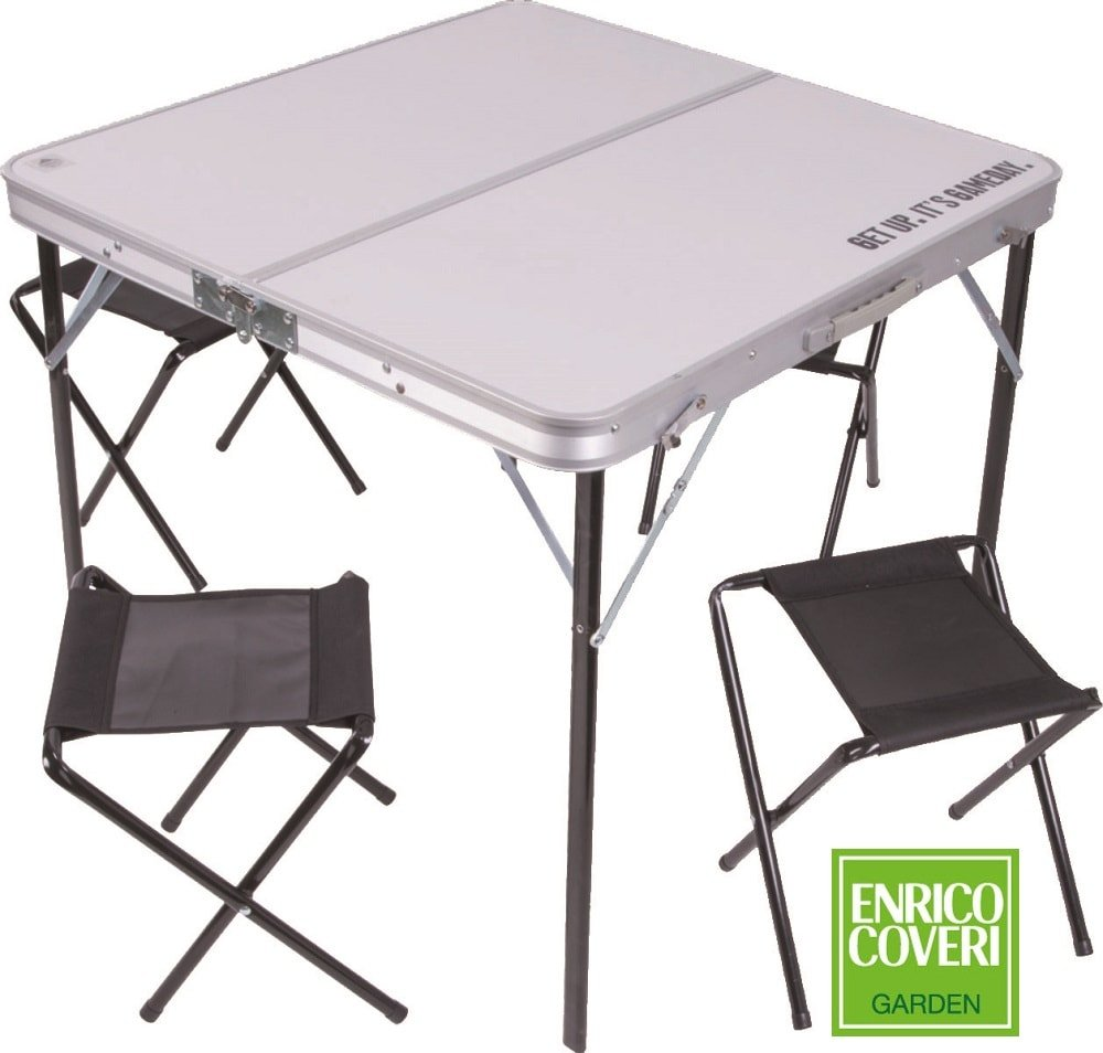 LGV Tavolo portatile pieghevole da picnic più 4 sedie in valigetta tavolino da giardino campeggio Enrico Coveri