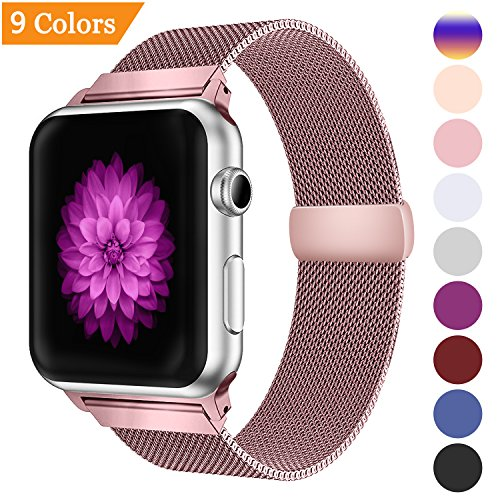 YOUKEX Bandx Milanese Loop Replacement Band Compatible Apple Watch 38mm 42mm,Stainless Steel Mesh Band with Magnetic Closure for iWatch Series 3 Series 2 Series 1