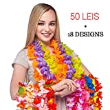 Hawaiian Leis 50 Pack - Best For Limbo Game, Hawiann Party Supplies. 100% Premium Tropical Luau Leis for Adults and Kids. Makes A Great Gift