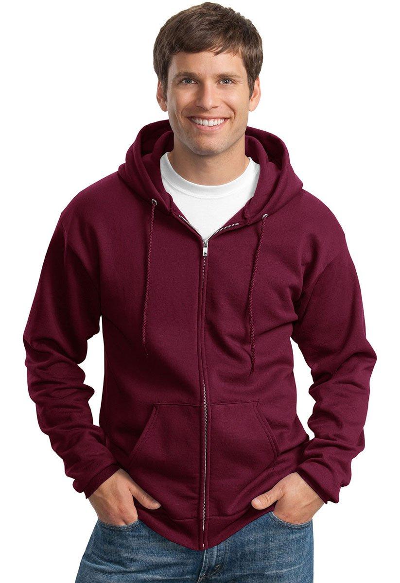 Port & Company Men's Classic Full Zip Hooded Sweatshirt M Maroon