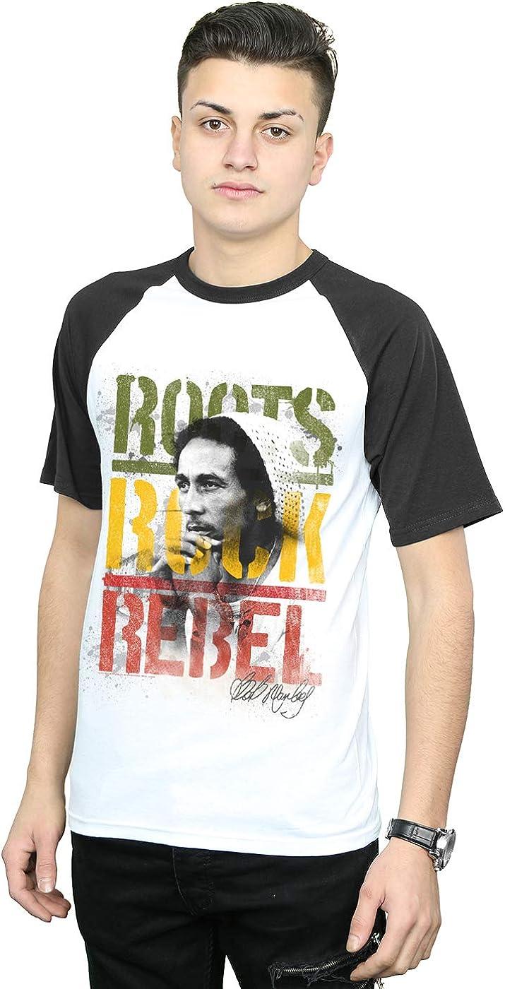 Bob Marley Hombre Roots Rock Rebel Camiseta del Béisbol Blanco Negro X-Large: Amazon.es: Ropa y accesorios