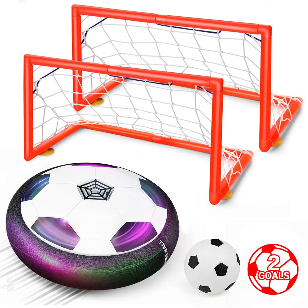 Air Power Training Soccer Ball Game Indoor Soccer Ball with LED Light-Football Toy for Boys Girls Age 3-11 Best Gift Feiqio Kids Toys Hover Soccer Ball Set with 2 Goals