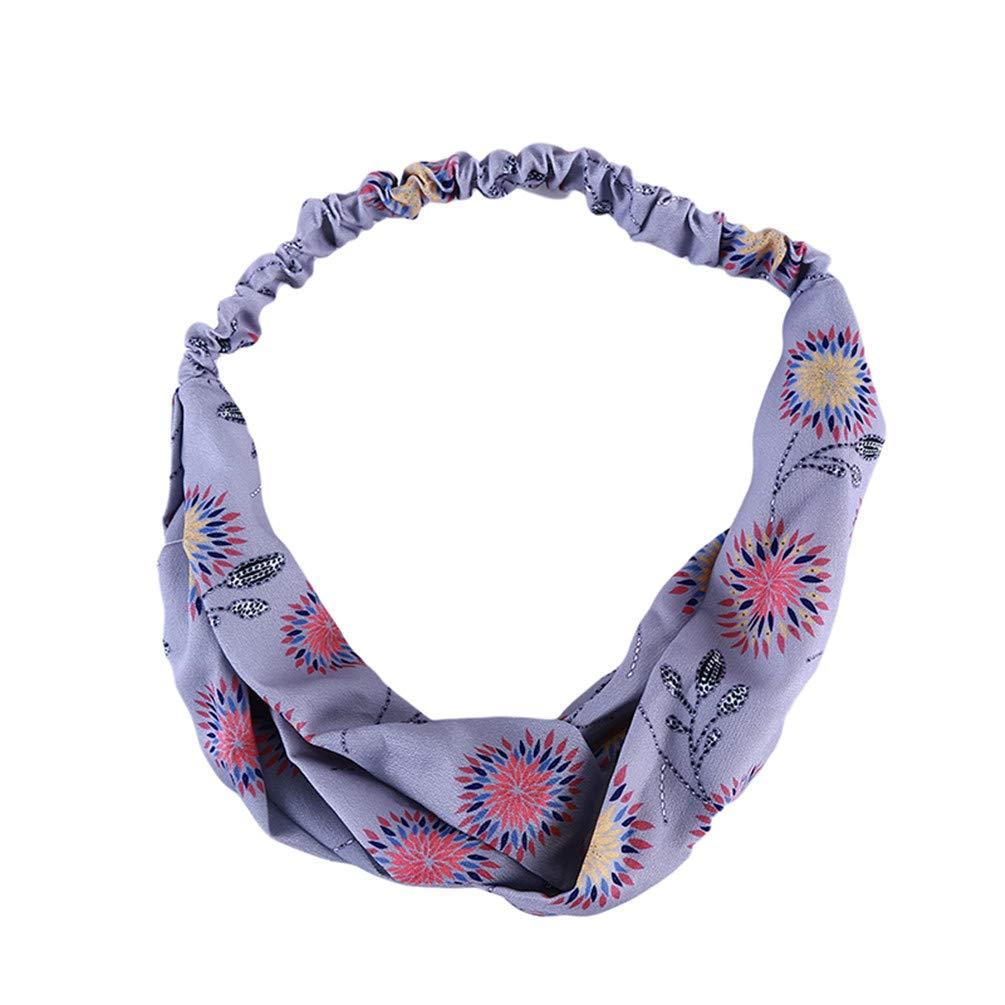 LANWF Sunflower Print Hairbands Cute Knot Cross Headbands Wide Wrap Hair Band Accessories,Blue