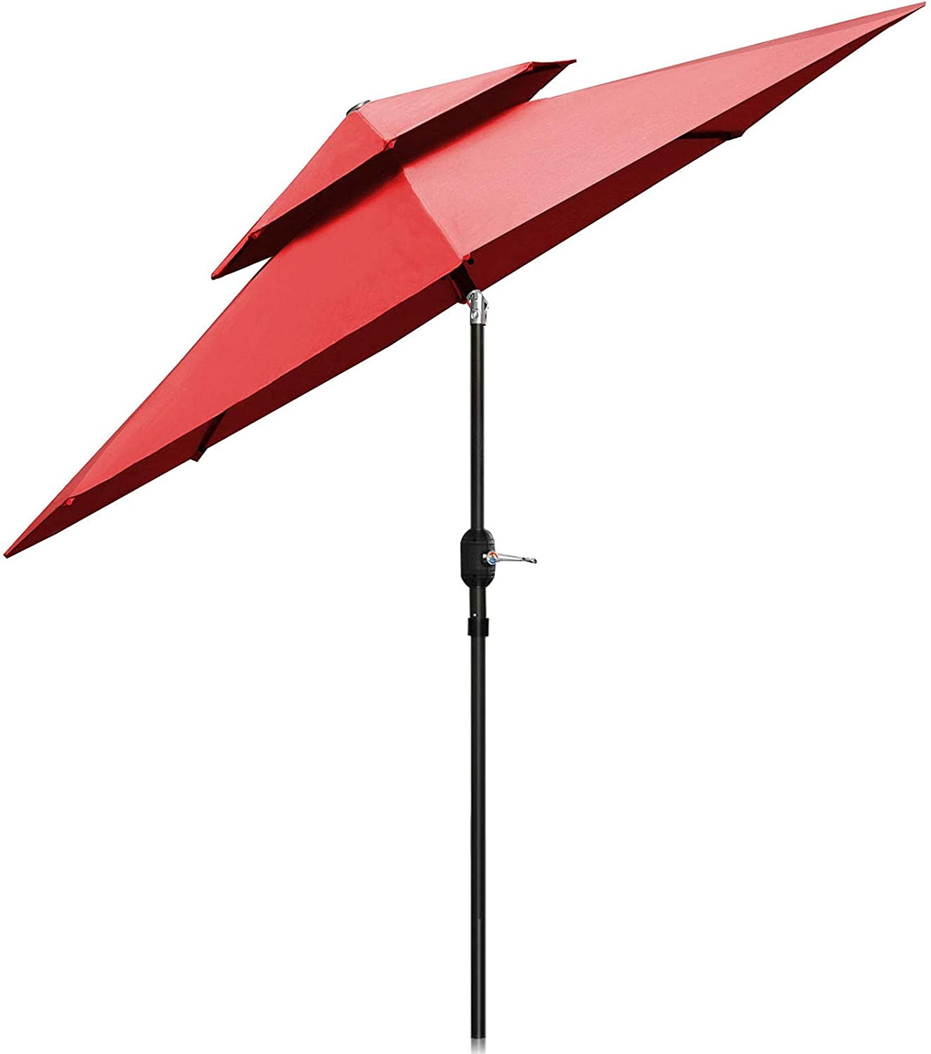 Patiassy Upgraded 9 Feet Double Top Outdoor Patio Umbrella with Push Button Tilt and Crank Lift Ventilation, 8 Sturdy Ribs, 240 GSM No-Fading Fabric, 5 Years Warranty