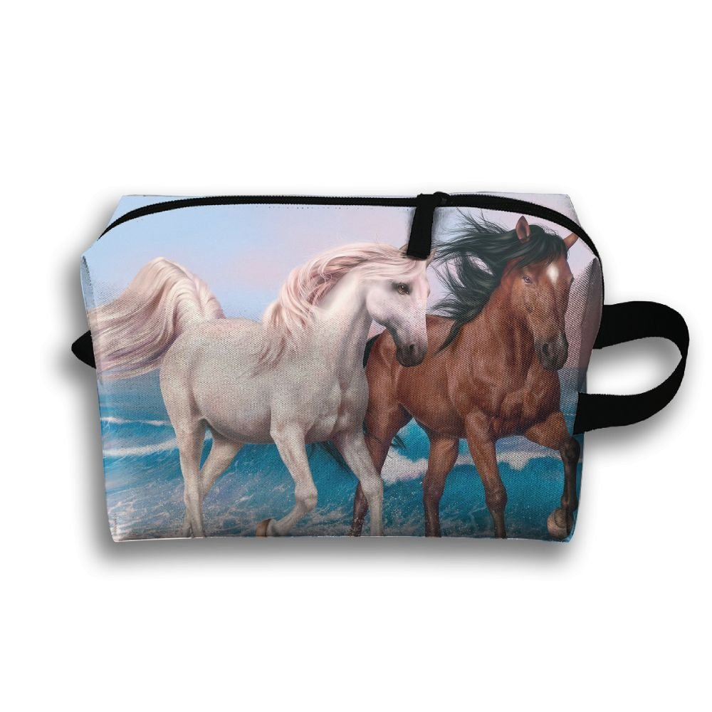 Rong Fa Love Horseアート海ポータブル旅行メイクアップバッグ、ストレージバッグポータブルレディースTravel Square Cosmetic Bag B07D8MYD2V