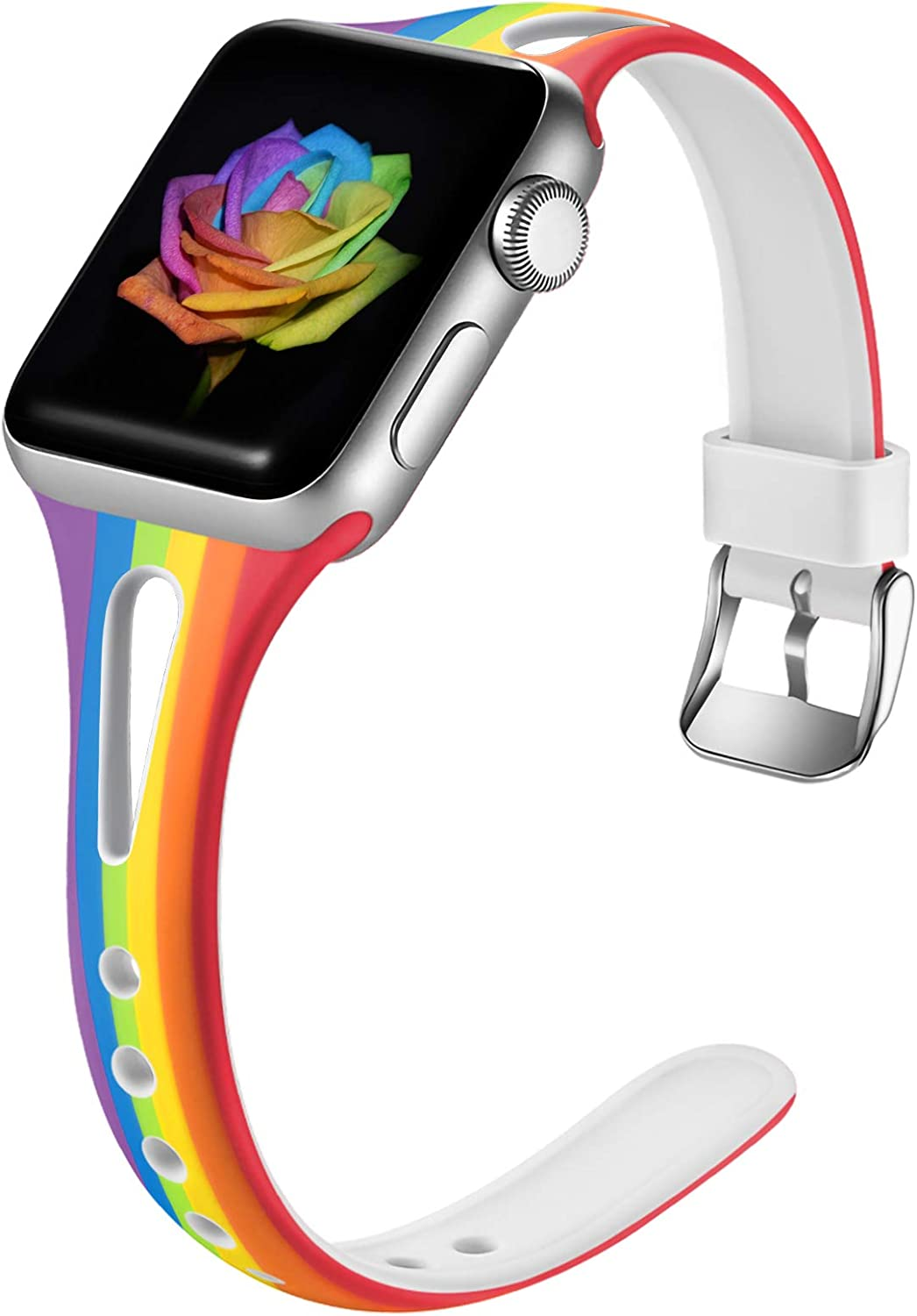 Easuny Rainbow Bands Compatible for Apple Watch 40mm Series 6 Series 5 4 for Women, Soft Cute Slim for Apple Watch SE 38mm Bands,Series 3 2/1, iWatch Silicone Thin Print Wristband S/M, Striped rainbow