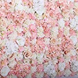 """48"""" X 96"""" Artificial Silk Rose Flower Background Backdrop Wall Wedding Party Decor ( Pink)"""