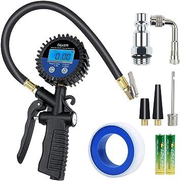 GEKER Manometro Presión Neumáticos 150 PSI Manómetro Digital con Pantalla LCD para Vehículos Motocicleta Bicicleta y Coche etc: Amazon.es: Coche y moto