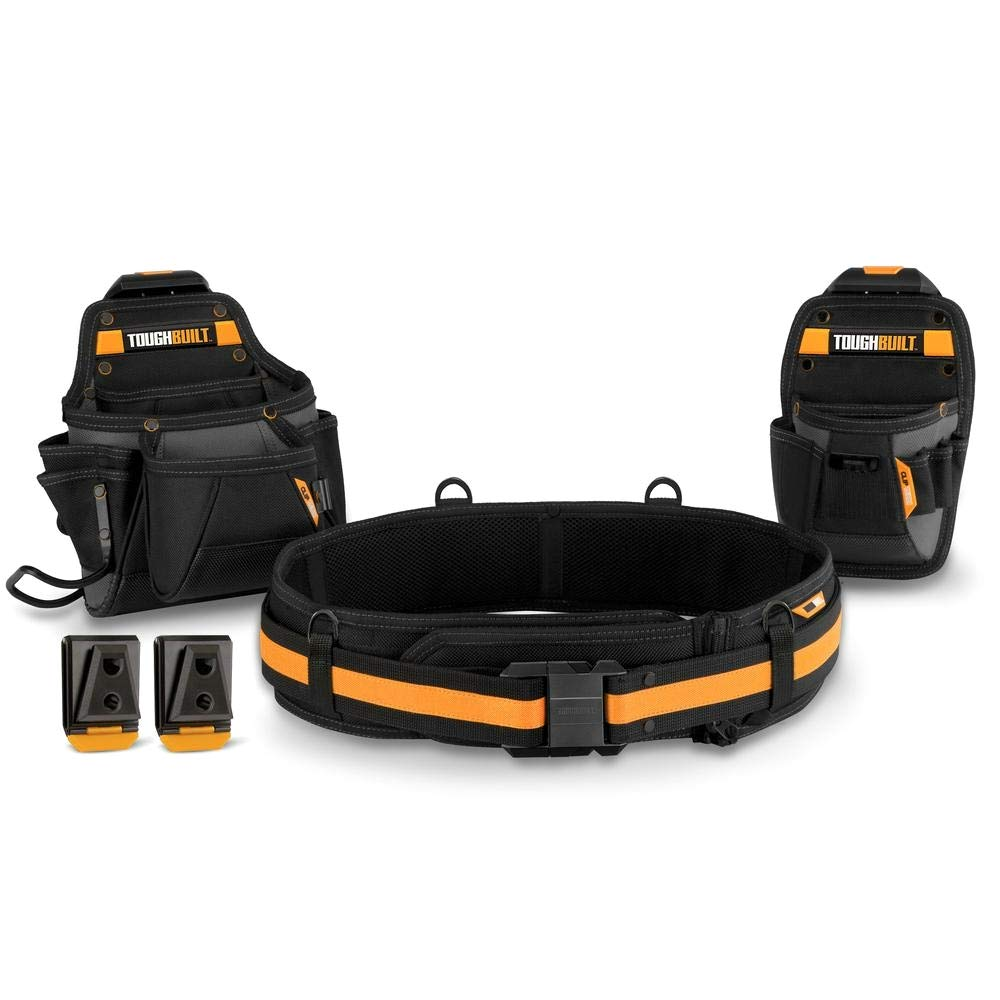 ToughBuilt - Handyman Tool Belt Set - 3 Piece, Includes 2 Pouches, Padded Belt, Heavy Duty, Deluxe Organizer Premium Quality - 10 Pockets, Hammer Loop, 2 Patented ClipTech Hubs (TB-CT-111C) by ToughBuilt