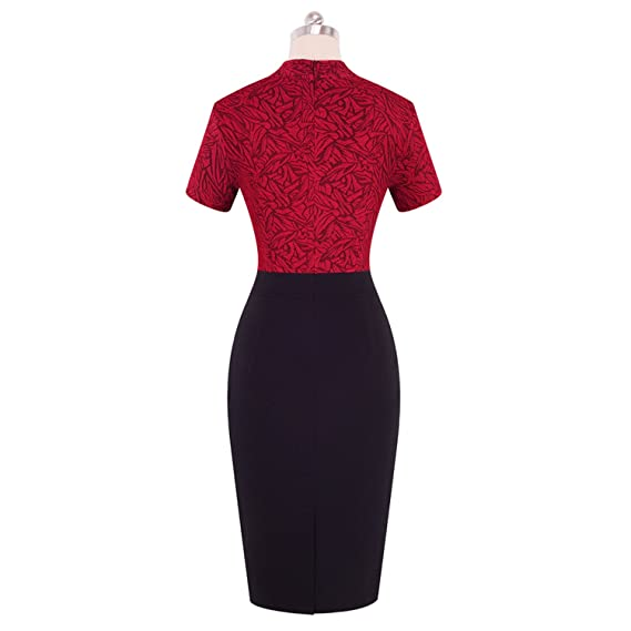 Running-sun Vintage Color Patchwork Wear Work Vestidos Bodycon Office Business Sheath Women Dress at Amazon Womens Clothing store: