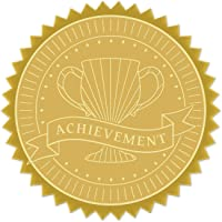 """CRASPIRE Gold Foil Certificate Seals Achievement 2"""" Round Self Adhesive Embossed Stickers 100pcs for Invitations…"""