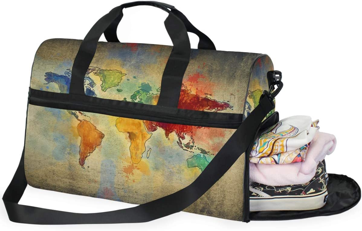 Travel Duffels Map Painting Duffle Bag Luggage Sports Gym for Women /& Men