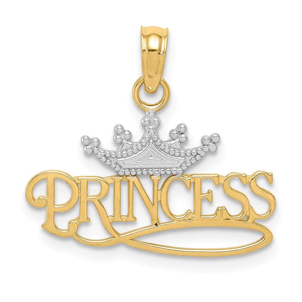 Jewelry Pilot 14K Yellow Gold /& Rhodium Polished Princess Crown Pendant