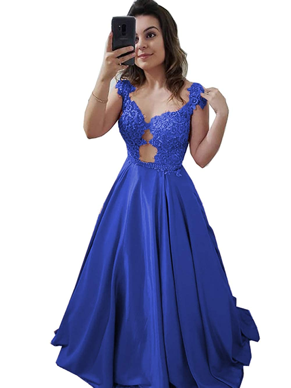Royal bluee YHFDRESS Women's Beaded Lace Applique Prom Dresses Illusion Back Evening Dresses A line Formal Dresses