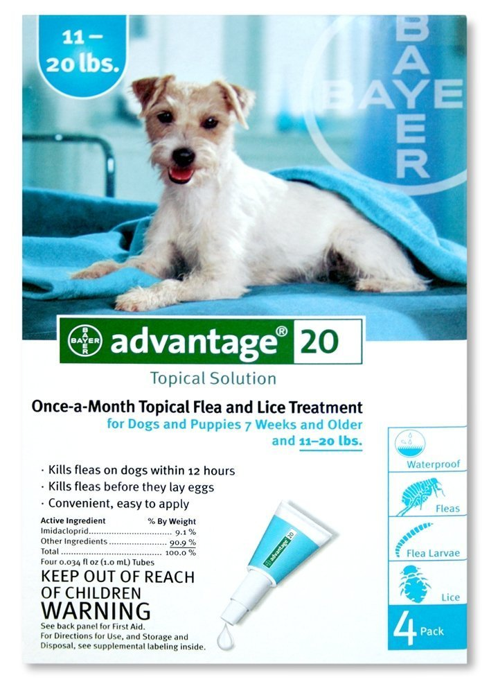 Bayer Topical Flea Treatment for Dogs 11-20 Lbs (4 Applications)