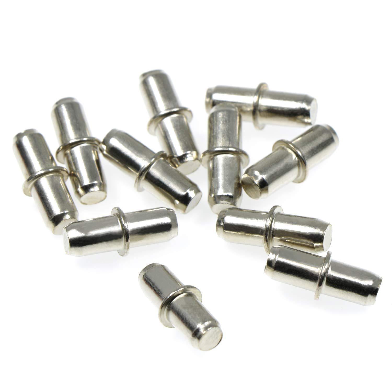 Lvcky 5mm en métal Support d'étagère en pin, étagère Broches divisé étagère Piquets pour Meubles Placard Argenté Clair avec boîte de Rangement, 45pièces 45pièces
