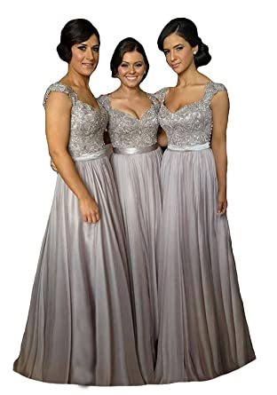 6f46f88f Fanciest Women' Cap Sleeve Lace Bridesmaid Dresses Long Wedding Party Gowns  Silver US20W at Amazon Women's Clothing store: