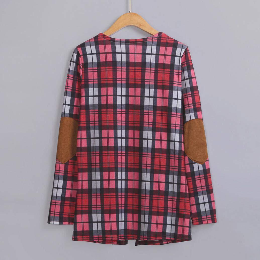 Spbamboo Womens Cardigan Lady Plaid Print Jacket Casual Long Sleeve Coat Outwear by Spbamboo (Image #4)