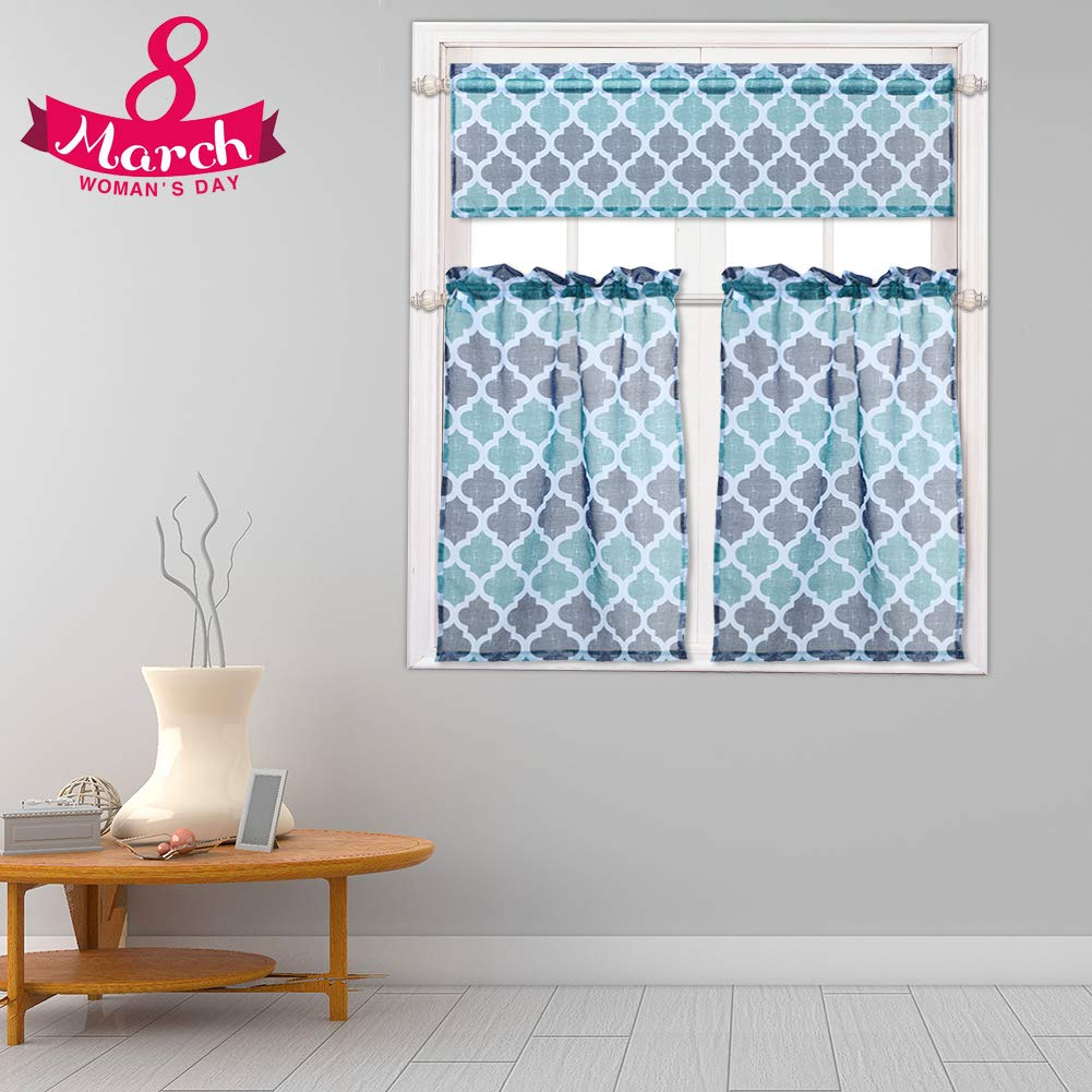 "Sheer Kitchen Curtains 3pcs Valance and Tiers Set, Geometric Trellis Print Linen Look Semi-Sheer Café Curtain Set for Kitchen/Bathroom Small Windows, Rod Pocket, 24""L, Blue"
