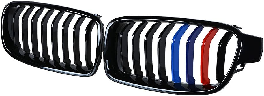 Astra Depot Front Bumper Kidney Grille Compatible with 2012-2018 BMW 3-Series F30 Sedan F31 Wagon Kidney Grille Grill Glossy Black M-Color
