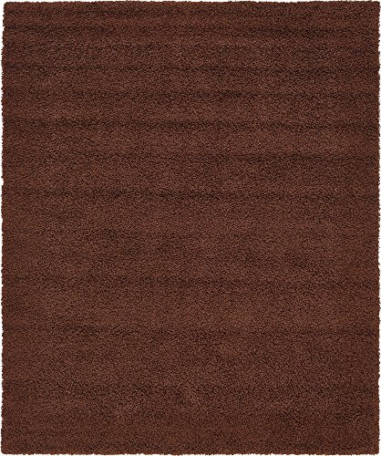 Unique Loom Solo Solid Shag Collection Modern Plush Chocolate Brown Area Rug (8' 0 x 10' 0) ()