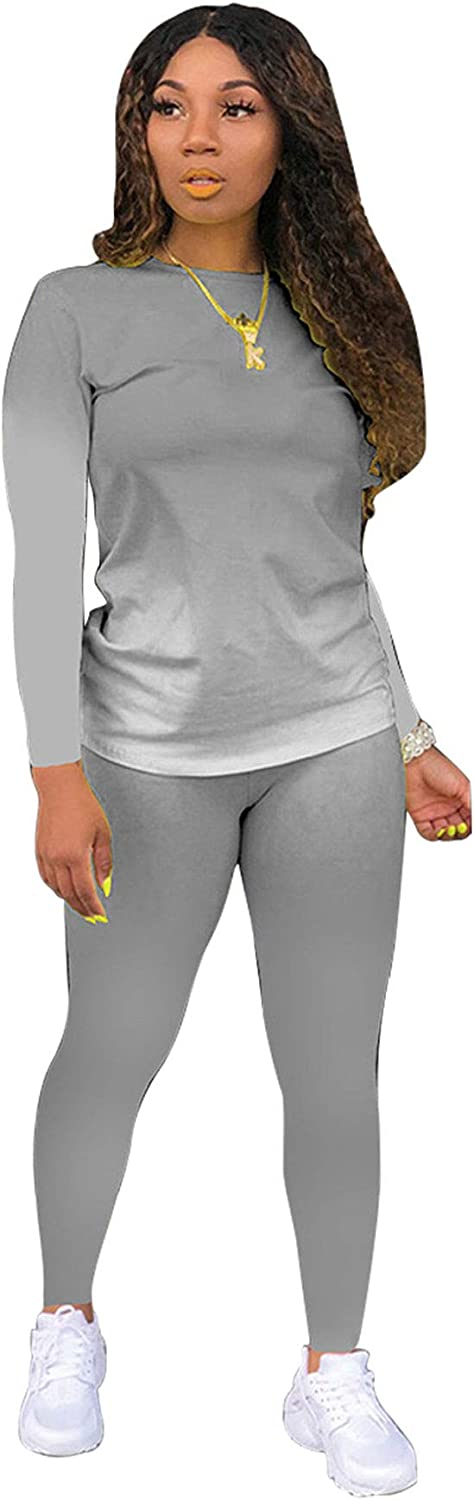 Tie Dye Women 2 Piece Outfits for Women Sexy Bodycon Outfits Plus Size Tracksuits Crewneck Long Sleeve T Shirts Pant Set Grey L at  Women's Clothing store