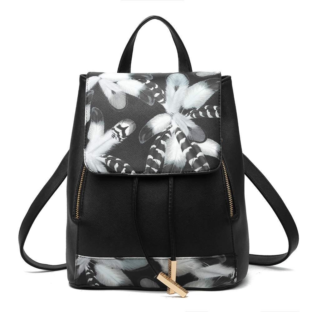 FNTSIC Women's Fashion PU Leather School Bag Travel Backpack Rucksack Casual Daypack Shoulder Bag for Ladies (Black)