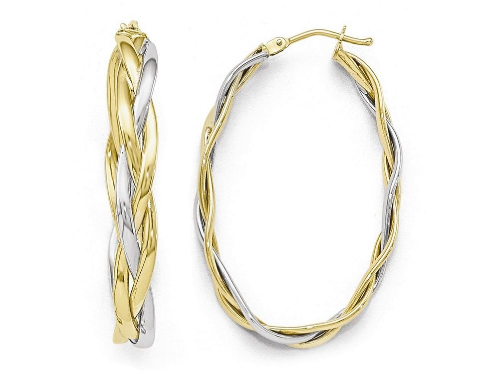 Finejewelers 10k Two-tone Polished Braided Hoop Earrings 10 kt Yellow Gold