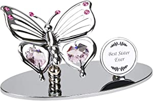 Haysom Interiors Silver Plated Metal Butterfly Best Sister Ever Ornament with Pink Swarovski Crystal Glass | Beautiful Gift Idea