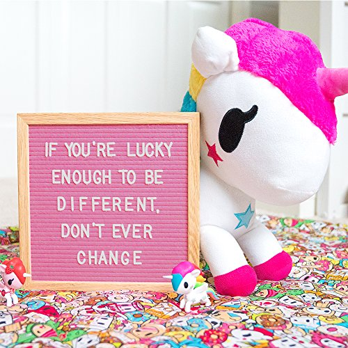 Hot Pink Felt Letter Board 10x10 inches. Changeable Letter Boards Include 300 White Plastic Letters & Oak Frame. by Felt Like Sharing (Image #2)
