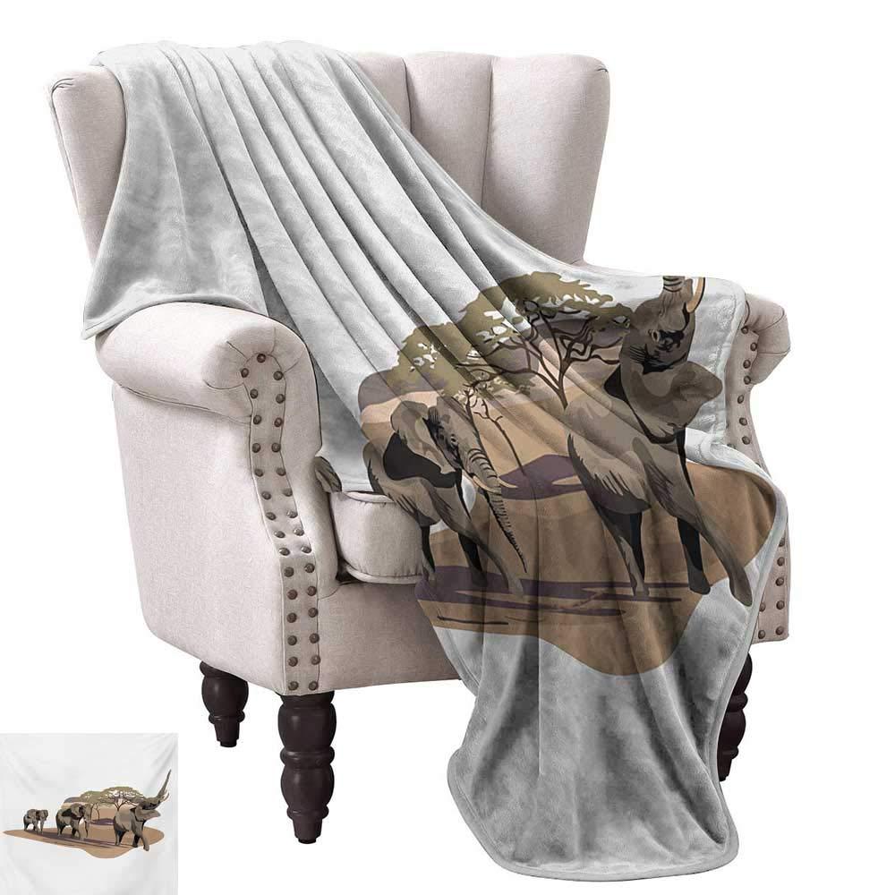 Amazon.com: Throw Blanket,African Elephants on Savannah ...