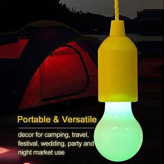 mrulic portátil Pull Cord Bombilla LED exterior jardín camping Hanging, amarillo, Leistung