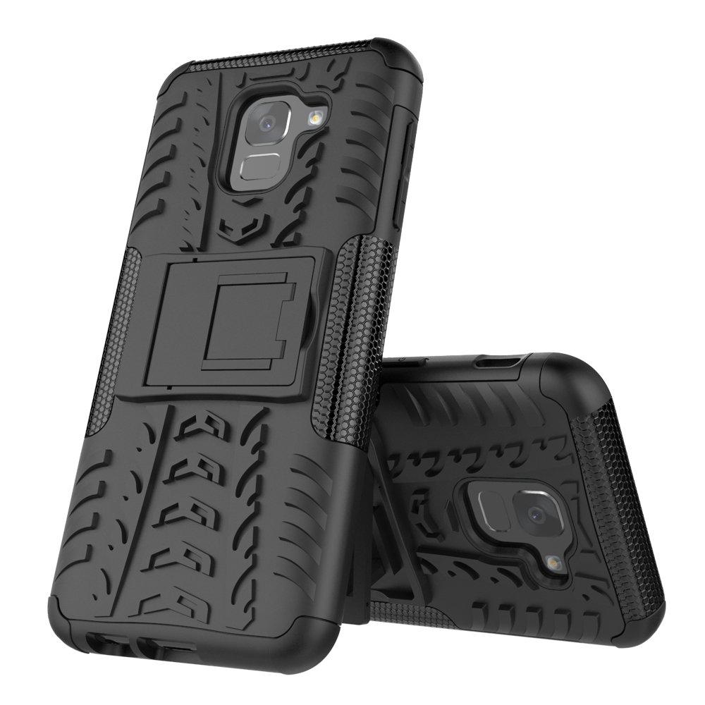 Negro MIFanX Funda Samsung Galaxy J6 2018 Desmontable PC Tup Doble Estuche A Prueba De Golpes para Samsung Galaxy J6 2018