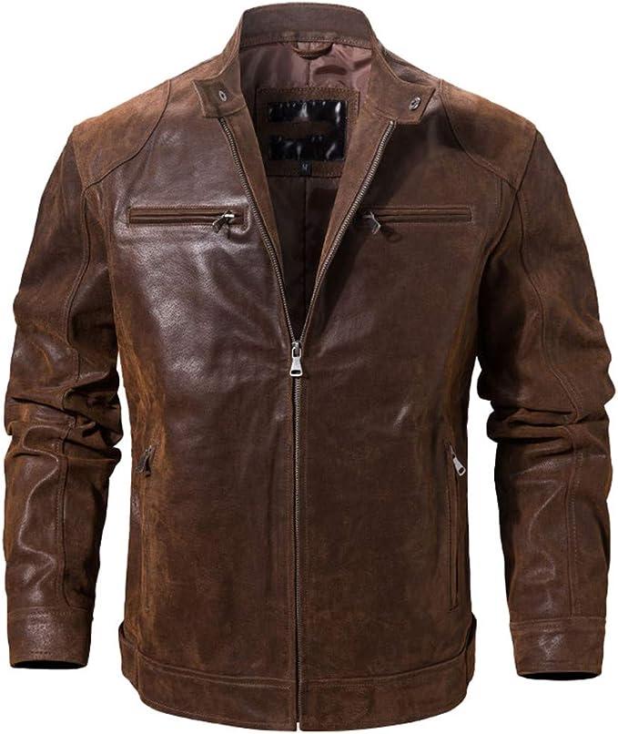メンズピッグスキンリアルレザージャケット、オートバイコート