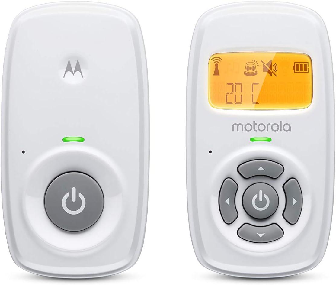 Motorola Baby MBP 24 Vigilabebés Audio Escucha bebes con pantalla, conversación bidireccional y monitoreo de temperatura, Blanco