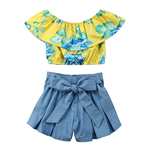 bc8c44e7724 Baby Girls Floral Ruffle Off Shoulder Crop Tops+Bowknot Denim Shorts Skirt  Set Summer Clothes