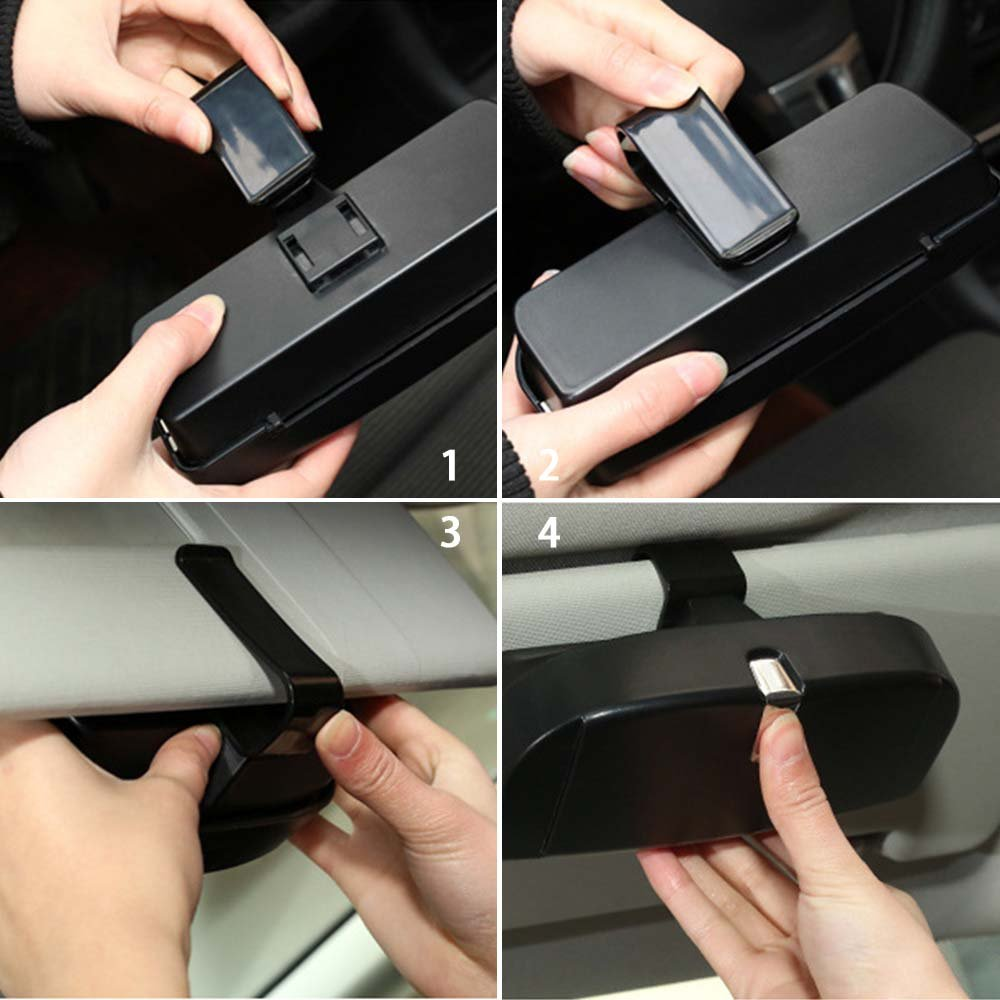 Glasses Storage Box for Car Lenmumu Universal Car Sunglasses Holder Case Storage Box Eye Glasses Box with Card Holder for Sunvisor Black